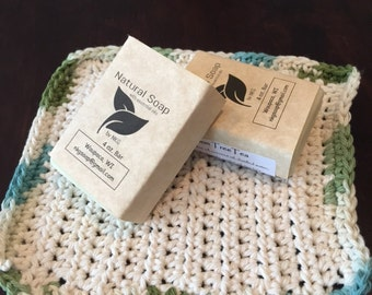2-4oz. Bars Essential Oil Soap with Washcloth 100% Cotton
