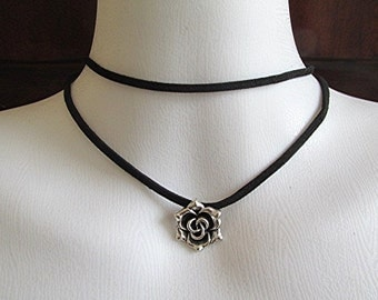 Double wrap leather choker necklace leather necklace rose choker rose necklace goth necklace grunge necklace vegan leather necklace gift.