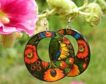 Wooden Earrings Folk Flowers, Polish Folk Art, Colorful black orange blue green yellow, Gift for her, Boho Earrings, Dangle Earrings Ethno