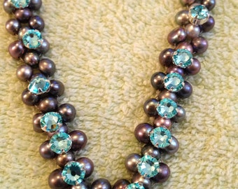 Tahitian pearl necklace with Swarovski crystals