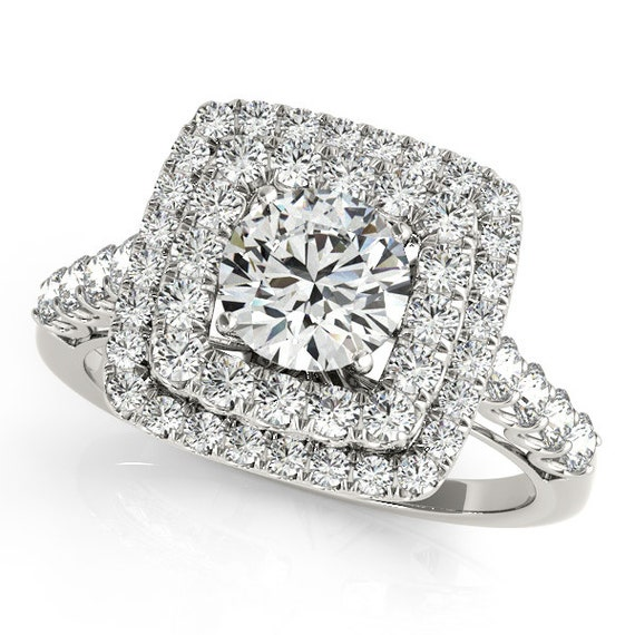 square halo engagement ring square engagement ring