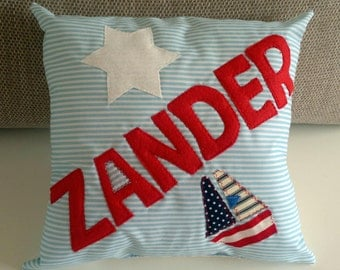 Baby Boys Personalised Cushion  Pillow New Baby Christening Birthday Present Bedroom Nursery Decoration Blue Boat Nautical Baby Shower Party