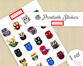 Marvowl - Owl marvel | Printable stickers | 1 pdf | Instant download