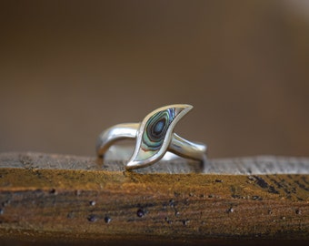 Vintage Silver 925 Abalone Shell Ring, US Size 6.5, Used