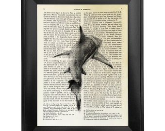 Black and white shark, printed on Vintage Paper - 8x10.5 - dictionary art print, vintage book print