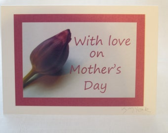 Original photo-art Mother's Day card featuring a purple tulip