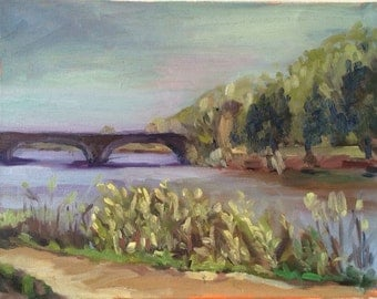 Landscape oil painting on canvas, original impressionist plein air painting of the Charles river