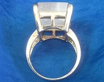Quartz sterling silver 925 prong set ring size 8 3/4