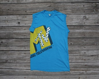 Vintage MTV Sleeveless Tee Music Television T-Shirt Made in the USA Blue MC-ET7