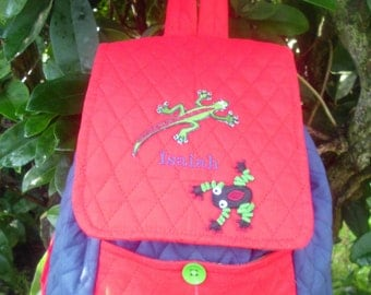 Handmade quilted children's backpack