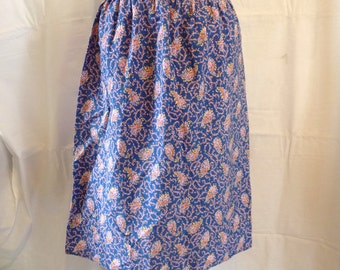 Vintage Cotton Floral Print Skirt 1970's Size 8. Made in GB