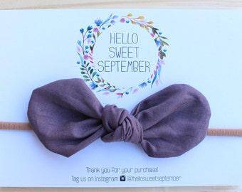 Baby nylon headband | Fabric bow | Mauve | 100% cotton