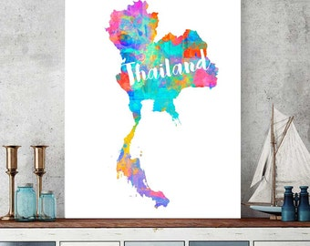 Thailand Map, Thailand Printable Map, Thailand Wall Art Decor, Watercolor Map Print, Thailand Gift, Instant Download, Asian Map