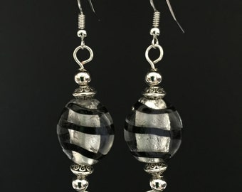 Black and Silver Glass Earrings