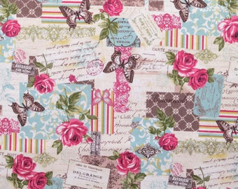 Vintage fabric fat quarter - Shabby chic fabric - French fabric - Butterfly fabric - Floral fabric - Quilting fabric - Patchwork fabric