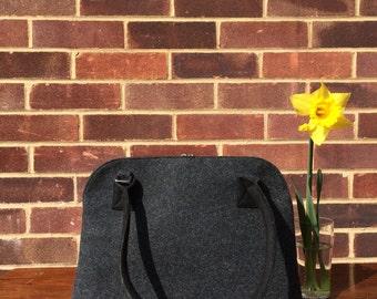 Felt Handbag, Women Handbag, Gift for her, Felt Bag, Felt top handle bag, Shoulder Bag, Plain Grey Bag, Big Tote Bag.