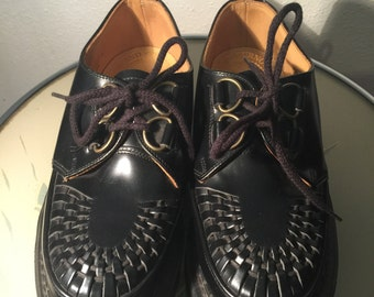 Round toe creepers,all leather uppers,new old stock 1980's mens sz 4 ladies sz 7