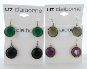 "Vintage Liz Claiborne Dangle Drop Earrings Signed Jewelry Lot 4 Pairs Silver Tone Green Black Beige & Purple 1"" Free Shipping"