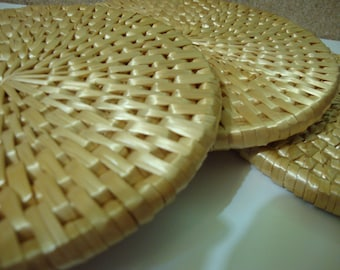 Set of 3 Woven Straw Trivets Vintage Hot Pads