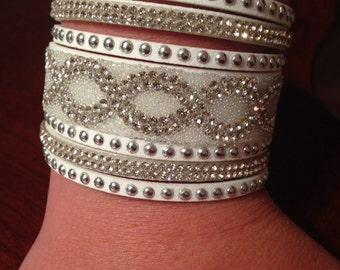 Sale!!!  White leather rhinestone jeweled cuff bracelet
