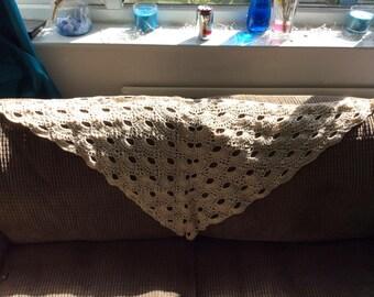 Crocheted cream/ gold shawl/ scraf