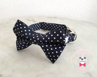 Blue Polka Dot Bow Tie Collar for Dogs/Bow Tie Dog Collar/Wedding Gift/Easter/Festive/Birthday/Cute Dog Collar