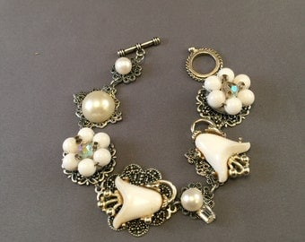 Vintage Earring Bracelet - White and Silver