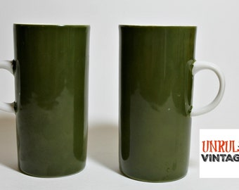Set of TWO Cylandrical Demitasse Avocado Green Cups