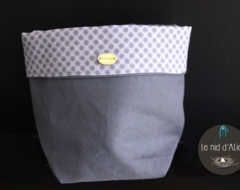 Lined blue fabric basket