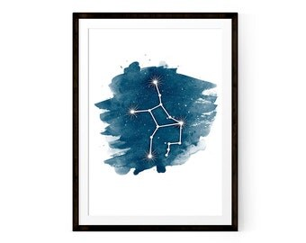Zodiac Virgo art Virgo constellation Zodiac art Printable poster 8x10 and 11x14