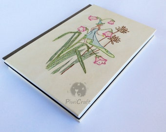 Notebook-Notebook-striped embroidered cover Diary-fairy, flower, fantasy