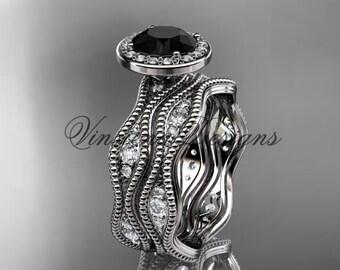 Platinum diamond engagement ring, Black Diamond VD10081S