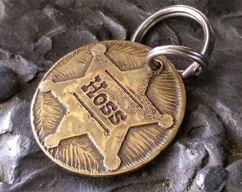 Sheriff's badge dog id tag. Western dog id tag. Deputy badge id tag