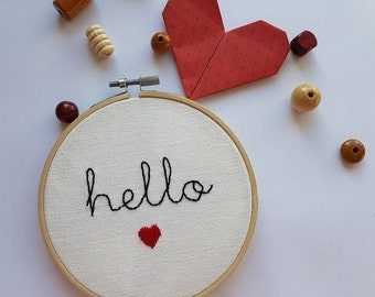 Embroidery Hello heart circle embroidery