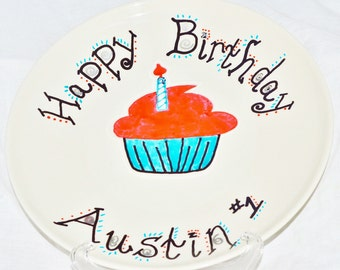 Personalized Happy Birthday Cupcake Plate