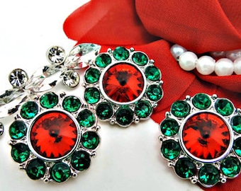Wholesale CHRISTMAS RED Rhinestone Buttons w/ Green Surrounding Acrylic Rhinestone Buttons Coat Fashion Garment Buttons 25mm 2997 3 6R