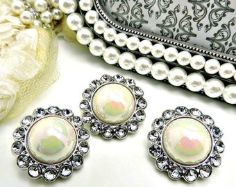 Shiny AB IVORY Pearl Buttons W/ Clear Surrounding Rhinestones Bridal Button Button Bouquets Garment Buttons Sewing Buttons 26mm 3185 53 2R
