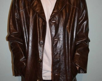 vintages 60s70s real leather coat