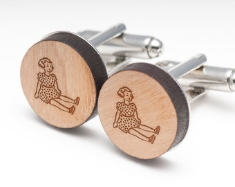 Barbie Wood Cufflinks Gift For Him, Wedding Gifts, Groomsman Gifts, and Personalized