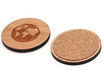 Earth Wooden Coasters Set of 4, Gifts For Him, Wedding Gifts, Groomsman Gifts, and Personalized