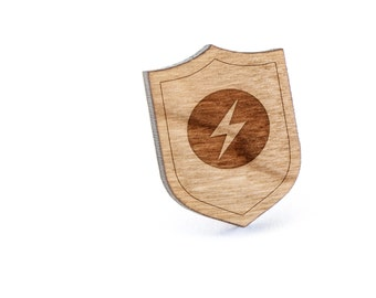 Lightning Bolt Lapel Pin, Wooden Pin, Wooden Lapel, Gift For Him or Her, Wedding Gifts, Groomsman Gifts, and Personalized