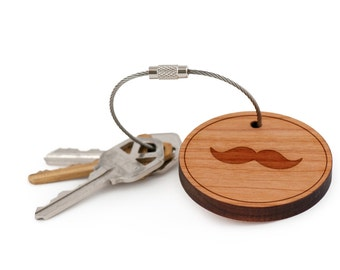 Moustache Keychain, Wood Keychain, Custom Keychain, Gift For Him or Her, Wedding Gifts, Groomsman Gifts, and Personalized