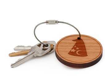 Wizardhat Keychain, Wood Keychain, Custom Keychain, Gift For Him or Her, Wedding Gifts, Groomsman Gifts, and Personalized