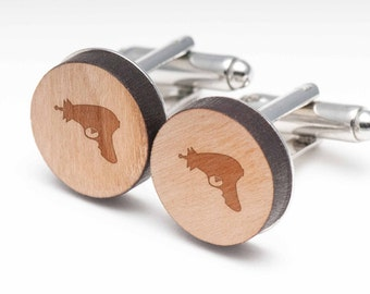 Lasergun Wood Cufflinks Gift For Him, Wedding Gifts, Groomsman Gifts, and Personalized