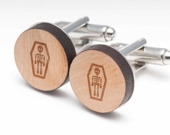 Skeleton Coffin Wood Cufflinks Gift For Him, Wedding Gifts, Groomsman Gifts, and Personalized