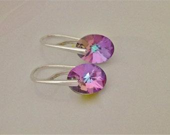 Choose Colour 12mm Swarovski Elements Earrings Sterling Silver Hooks