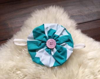 White and teal Chevron fabric yo-yo flower headband