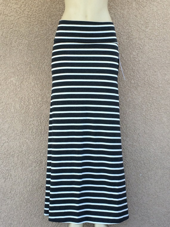 striped maxi skirt gray and white stripes by passiflorabykylie