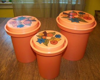 3 Retro 1970s Flower Power Orange Nesting Canisters by Rubbermaid storage Containers