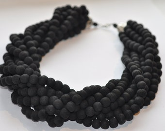 Black wooden necklace Chunky Necklace Statement Necklace Handmade Beaded Necklace Wooden Necklace for Women Strand Necklace Big Bead jewelry